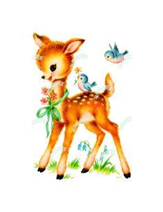 Bambi, Vintage Pictures, Vintage Images, Vintage Posters, Kitsch, Deer Illustration, Image Collage, Deer Art, Nursery Decals