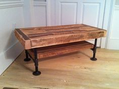 could be a great coffee table Industrial wood & steel media console or entertainment center featuring