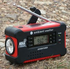 The Ambient Weather WR-111b radio receives AM/FM and Weatherband radio. It also features a flashlight and both a solar panel and hand crank for powering the unit when electricity is not available.