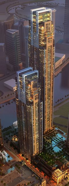 Al Habtoor City Towers, Dubai, UAE by Atkins Architects :: 74 floors, height :: under construction by maritza Dynamic Architecture, Futuristic Architecture, Beautiful Architecture, Architecture Design, Unique Buildings, Interesting Buildings, Amazing Buildings, Dubai Buildings, Famous Buildings
