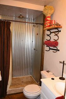 I like the tile floor with the corrugated wall, re. Babblings and More: Bathroom Makeover