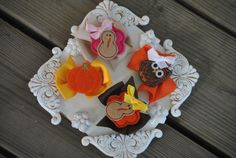 4 Small Thanksgiving Boutique Bows  Fall by TheJellyBeanJunction