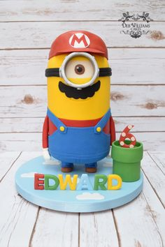 What do you get when a minion dresses up as Mario from Super Mario World? A Super Mario Minion cake! Made by Deb Williams Cakes Minion Theme, Minion Birthday, Minion Party, Boy Birthday, Minion Halloween, Halloween Cakes, Birthday Cakes, Minion Cake Tutorial, Pastel Minion