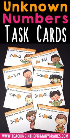 Have fun finding missing addends and unknown partners with these fun first grade task cards. Students will identify the unknown number in addition and subtraction equations.