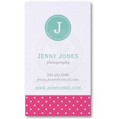 Hot Pink & Aqua Cute Polka Dots Monogram Business Card