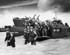 WWII D-Day Normandy Soldiers.  First soldiers on the beach were under fire all the time. #WWII #War