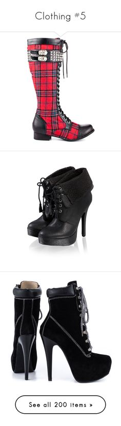 """""""Clothing #5"""" by sleeping-with-loki ❤ liked on Polyvore featuring shoes, boots, small heel boots, tall lace up boots, lace up heeled boots, tall boots, knee high buckle boots, ankle booties, zapatos and women"""