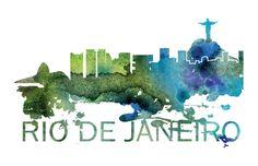 Rio de Janeiro Art, Rio de Janeiro Skyline, Rio de Janeiro map, Rio de Janeiro skyline, Rio de Janeiro map print  A beautiful Watercolor Art