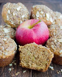Whole Wheat Apple Muffins. These are ULTRA moist, loaded with plenty of apples, come cinnamon and an oat crunch topping! Stays fresh for days and it's everyone favorite!! www.twopurplefigs.com