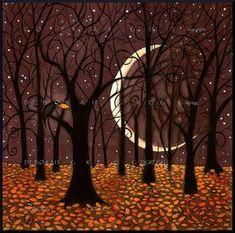The Last Leaf, a Fall Autumn Crow Woods Crescent Moon Print by Deborah Gregg - Landschaftsbilder - halloween art Image Halloween, Halloween Night, Halloween Art, Autumn Art, Autumn Leaves, Gravure Photo, Image Zen, Arte Dope, The Last Leaf