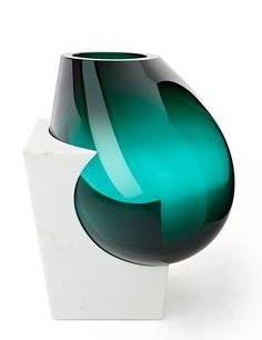 Carrara marble and Murano glass vase, 2013, by Emmanuel Babled, from Galerie Yves Gastou.