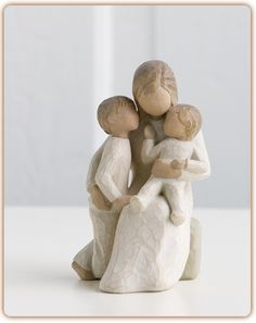 "Quietly...Quietly encircled by love...""Quietly is meant to be a very calming piece, especially for a mom. A lot of people think this piece is a mother with two boys, but I see it as either."" (HAVE) I started collecting Willow Tree figurines because they're beautiful & they feature Moms with boys...so hard to find."