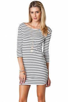 Boat Neck Striped Dress in Skinny Stripes by Piko