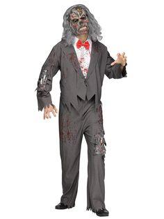 Zombie Bräutigam Halloweenkostüm Untoter grau. Aus der Kategorie Halloween Kostüme / Halloween Kostüme Herren. Manch einer muss am Tage der Hochzeit etwas länger auf das Erscheinen der Angebeteten warten. Dieser Zombie-Bräutigam wartet nun allerdings schon deutlich länger, wie sich nicht nur an der farblichen Angleichung von Haaren und Anzug des Zombie-Kostüms erkennen lässt...
