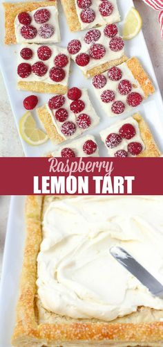A flaky puff pastry tart filled with lemon cream and topped with fresh raspberries. An easy and elegant spring or summer dessert. #fruittart #tart #lemon #dessert #baking #puffpastry