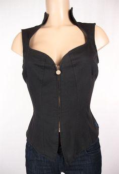 JEANS de CHRISTIAN LACROIX Vest Size 42 USA 8 M Black Top Circa 90's #ChristianLacroix