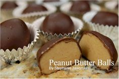 yum!    Peanut Butter Balls  2 cups (500 grams) creamy peanut butter  1/4 cup (57 grams) unsalted butter, room temperature  1/4 teaspoon salt  1/2 teaspoon pure vanilla extract  2 - 2 1/2 cups (230 - 290 grams) confectioners (powdered or icing) sugar  Chocolate Coating  9 ounces (255 grams) semi sweet chocolate, coarsely chopped    Peanut Butter Balls: Line a baking sheet with parchment paper.  Place the peanut butter, unsalted butter, and salt in a microwaveable bowl, and heat in the…