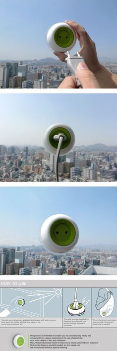 Solar Powered Window Socket designed by Kyuho Song & Boa Oh - The Window Socket attaches easily to any window, harnesses solar energy from its location, and transfers that energy into an internal battery.