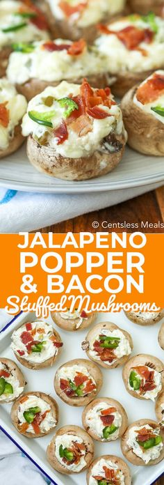 Jalapeno Popper Stuffed Mushrooms are the perfect appetizer for game day parties. Cream cheese, jalapenos, two kinds of cheese and bacon are all stuffed into a mushroom cap and baked to perfection! These will definitely be the hit of the party! Jalapeno Poppers, Jalapeno Cream Cheese Bacon, Cream Cheese Stuffed Jalapenos, Cheese Stuffed Mushrooms, Stuffed Mushroom Caps, Bacon Appetizers, Appetizer Recipes, Game Day Food, Partys