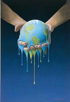 Melting Earth illustration by Bjørn Richter Tattoo Manche, Art Environnemental, Save Our Earth, Illustration, Gcse Art, Environmental Art, Climate Change, Street Art, Artwork