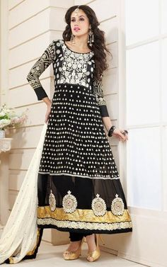 $111.11 Black Thread Work Shantoon Anarkali Salwar Suit 26295