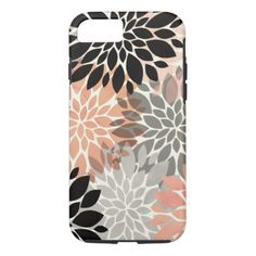 Modern pink coral black trendy floral pattern iPhone case A modern pink, coral, black and grey trendy floral pattern with pastel and watercolor abstract and modern flowers vector. Perfect for the modern deco and pretty flowers lover