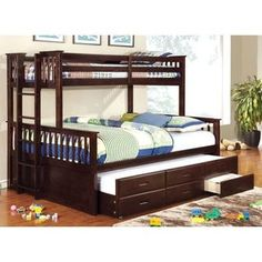 Furniture of America Rodman 2-piece Twin over Queen Bunk Bed Set with Trundle and Drawers - Free Shipping Today - Overstock.com - 17415892 - Mobile