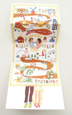 Yellow and orange foldable #weddingmap invitation by Mino Paper Sweets