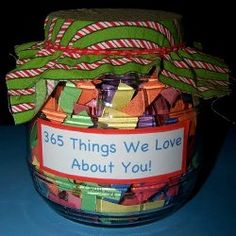 """""""We Love You"""" Jar for a family member from your kids! Um, WAY more value than any store bought gift if you ask me!!!!!!!!!"""