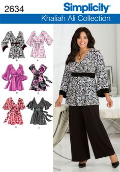 2634Plus Size Tops  Plus Size & Plus Size Petite Khaliah Ali Collection pullover tunic & tops sewing pattern