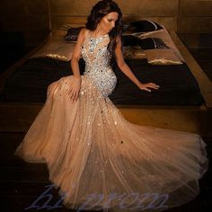 Mermaid Long Prom Dresses,Champagne Prom Gowns,Beading Prom Dresses 2016, Party Dresses 2016,Prom Gown,Prom Dress,Sexy Prom Dress