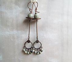 Long Copper Earrings, Rustic Earrings, Dangle Beaded Earrings, Beadwork