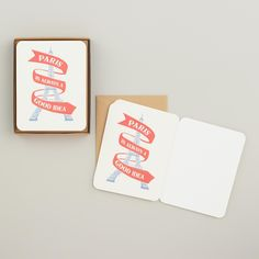 """Printed with an illustration of the Eiffel Tower wrapped in the reminder that """"Paris is always a good idea,"""" this high-quality card set is an irresistible mix of contemporary artwork and classic style. Each card is made of fine textured paper, accented with round edges and blank inside for the message of your choice."""
