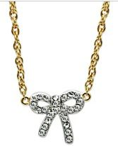 14k Gold-Plated and Rhodium-Plated Crystal Bow Pendant $22