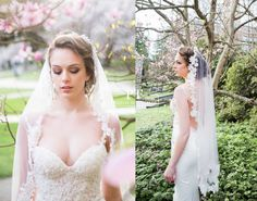 Lace Wedding Veil Fingertip Lace Veil One by PTBridalHandMade