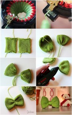 DIY / tutorial bowtie in knitting Addi Knitting Machine, Circular Knitting Machine, Loom Knitting Stitches, Knitting Machine Patterns, Knifty Knitter, Knitting Projects, Crochet Projects, Addi Express, Diy Couture