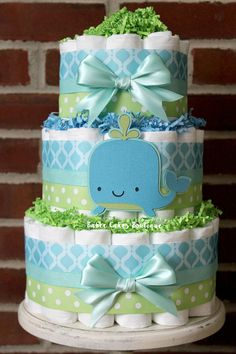3 Tier Under the Sea Diaper Cake, Boy Gender Neutral Baby Shower, Aqua, Teal… Baby Shower Cakes For Boys, Boy Baby Shower Themes, Baby Shower Cupcakes, Gender Neutral Baby Shower, Baby Shower Cards, Baby Boy Shower, Baby Shower Parties, Baby Shower Gifts, Baby Showers