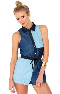Is there anything better than denim on denim on denim? We're so excited about this patchwork look we are bursting at the seams, and we've put together 17 looks you can incorporate into your wardrobe this season. Denim Playsuit, Jeans Jumpsuit, Playsuit Romper, New Outfits, Fashion Outfits, Double Denim, Denim Patchwork, Rompers Women
