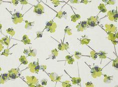Keiko Cilantro - Tulipa - Printed Cotton-Linen Blend : Designer Fabrics & Wallcoverings, Upholstery Fabrics