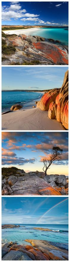 The Bay of Fires is a bay on the northeastern coast of Tasmania in Australia, extending from Binalong Bay to Eddystone Point.