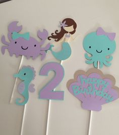 6 piece Mermaid Centerpiece Sticks - Under The Sea Centerpiece Piece Nautical Centerpiece Nautical Table by EandABabyShopCustom Party Decor For Any Occasion por EandABabyShop Under The Sea Decorations, Mermaid Party Decorations, Birthday Party Decorations, Mermaid Happy Birthday, Baby First Birthday, Happy Birthday Banners, Mermaid Cakes, Party Signs, Cupcake Toppers