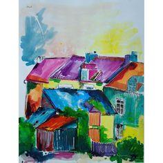 Encre de couleur de Chenel, Titre : La rue de la Vallée des Couleurs, à Plélan le Petit, Format : 65 x 50 cm