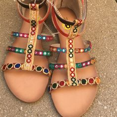 Multicolor sandals How colorful are these gorgeous sandals Brand new pair missing box. Back zipper closure . Shoes Sandals
