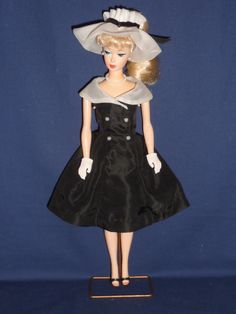 """Vintage Barbie """"After Five""""  Outfit - Black 'n White Dress and Hat"""