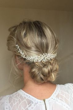 Aubrey Wedding Pearl and Crystal hair vine, Bridal Hair accessory, Headband…