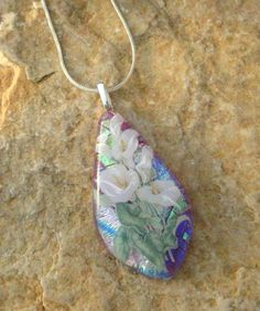 Fused Glass Necklace Calla Lilies on Pink  Dichroic by GlassCat, $28.00