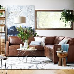 Henry Leather Sectional Set 2 - Corner, 1 Left Arm Loveseat, Right Armchair, Molasses, Premium Aniline Leather