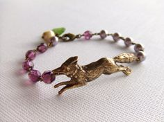 The Fox and The Grapes Jewelry bracelet, Purple Beads, Czech Glass, Pearls, Made in USA, Woodland, Gift for Her, Under 25. $24.00, via Etsy.