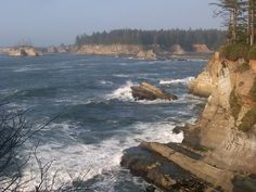 Coos Bay, Oregon - southern Oregon. This part of the OR coast is rockier, unlike the white, sandy beaches farther north.