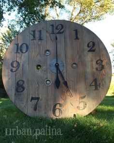 Urban Patina: Upcycled electrical spool into large (statement piece) wall clock
